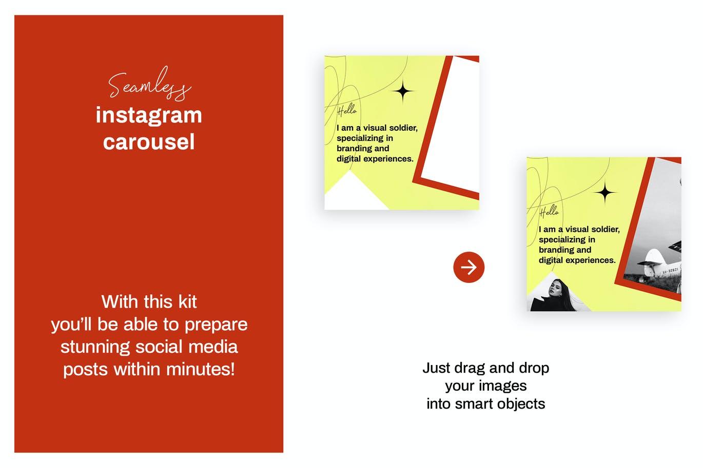 潮流复古INS风新媒体推广电商海报设计模板 Seamless Instagram Carousel插图2