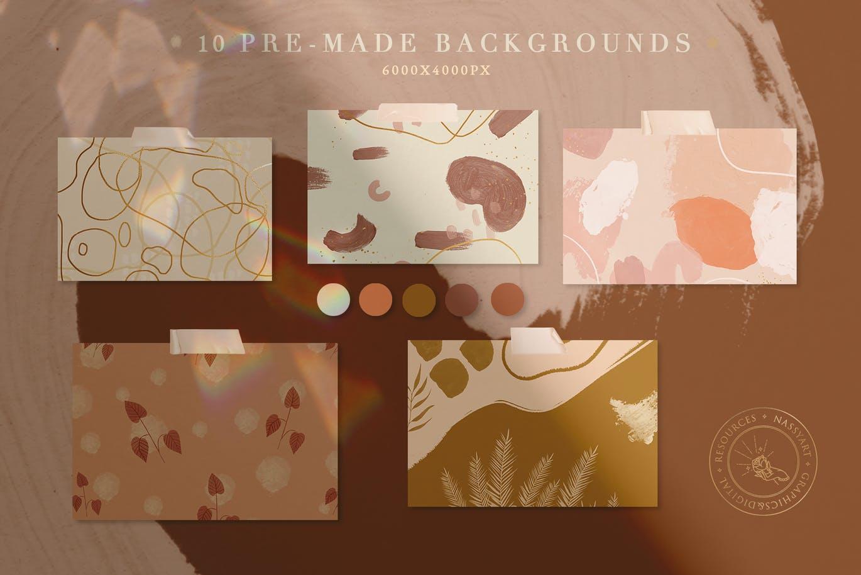10款高清丙烯酸艺术绘画画笔纹理海报设计背景图片素材 10 Abstract Pastel Neutro Textures插图1