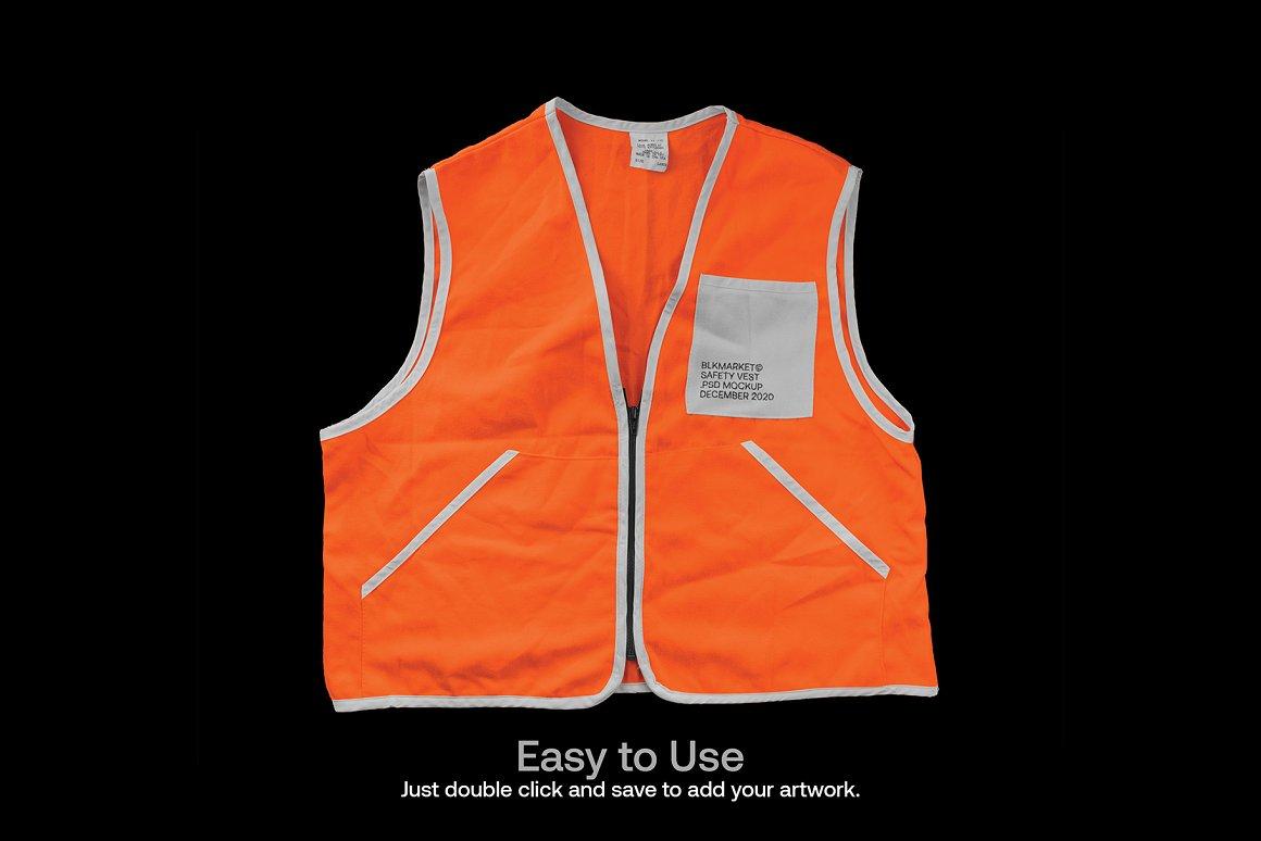 潮流安全背心图案印花设计智能贴图PSD样机模板 Blkmarket – Mockup Safety-vest.psd – Streetwear Mockup插图3