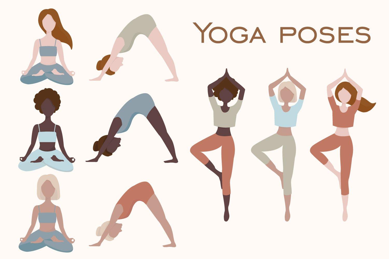 瑜伽元素女孩树叶花瓶抽象图形手绘插画设计素材 Woman Abstract Clipart Yoga Clipart PNG插图2