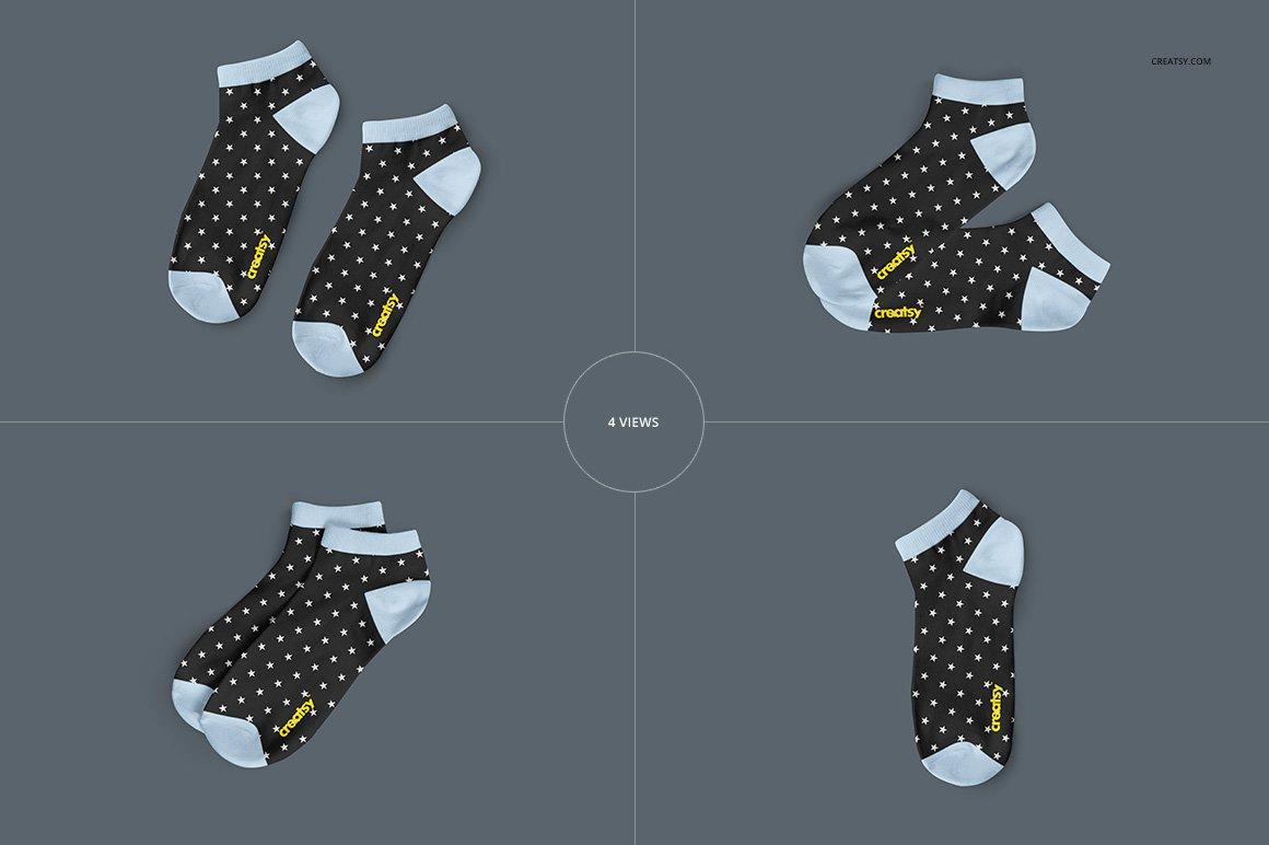 低帮袜子印花图案设计展示PS样机模板素材 Low Cut Socks 2 Mockup Set插图2