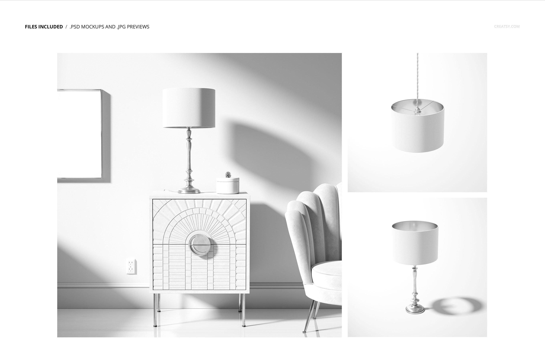 时尚高端室内鼓形灯罩灯设计展示样机集 Drum Lamp Shade Lamps Mockup Set插图2