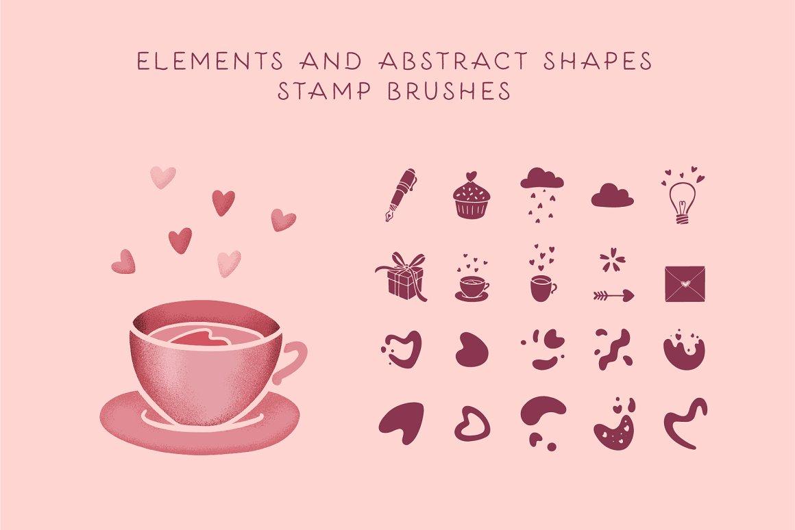 300个点状颗粒花卉动物心形艺术绘画iPad Procreate笔刷字体套装 Procreate Brushes & Font Bundle插图29