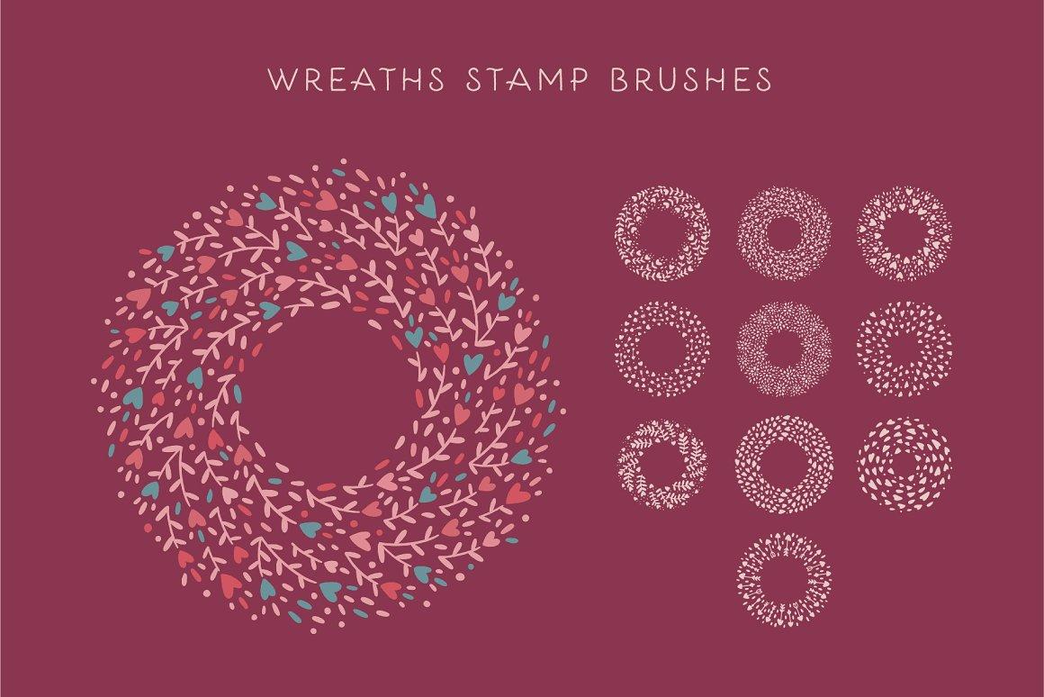 300个点状颗粒花卉动物心形艺术绘画iPad Procreate笔刷字体套装 Procreate Brushes & Font Bundle插图30
