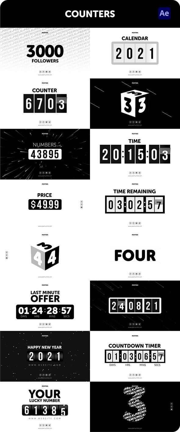 时尚潮流文字排版广告宣传海报包装动画预设AE+PR脚本素材 Videohive – Posters Pack V.7插图30