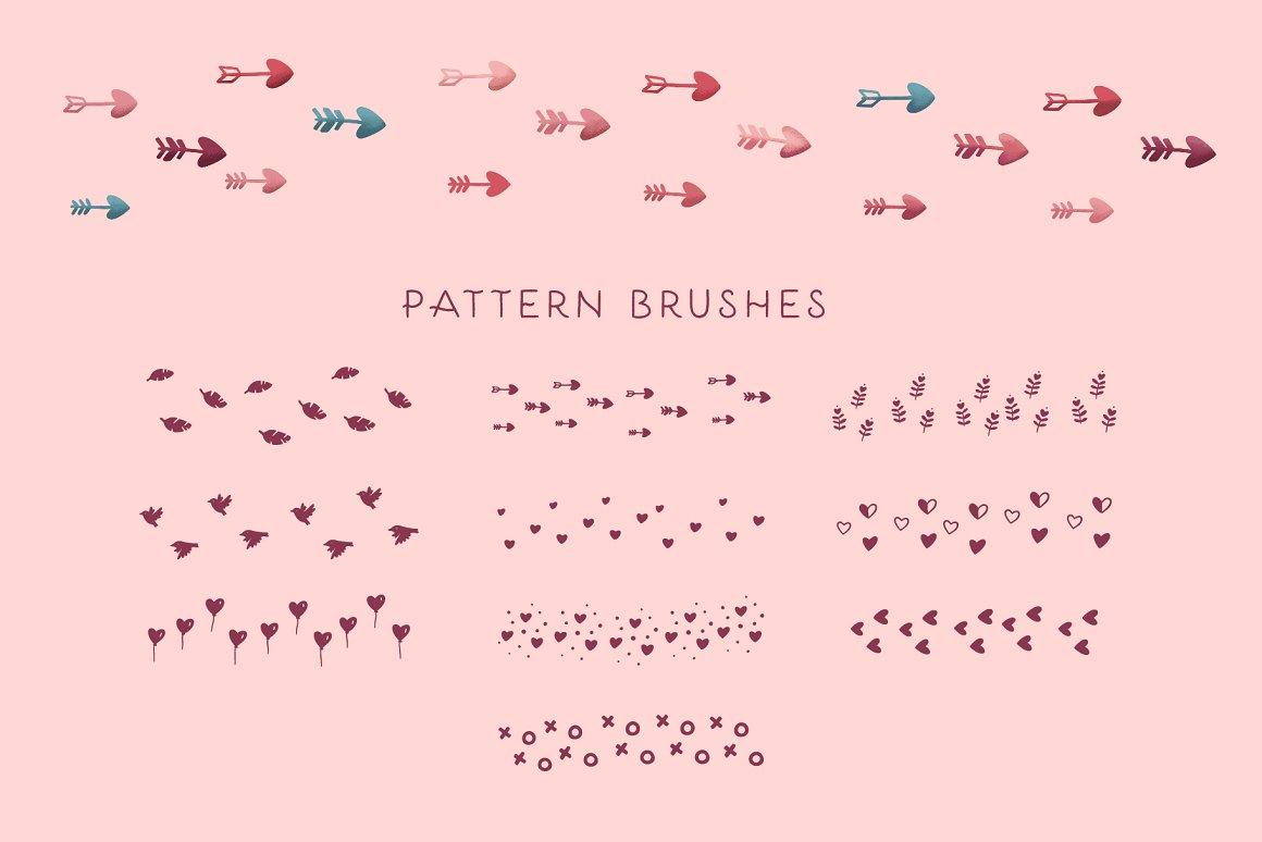 300个点状颗粒花卉动物心形艺术绘画iPad Procreate笔刷字体套装 Procreate Brushes & Font Bundle插图31