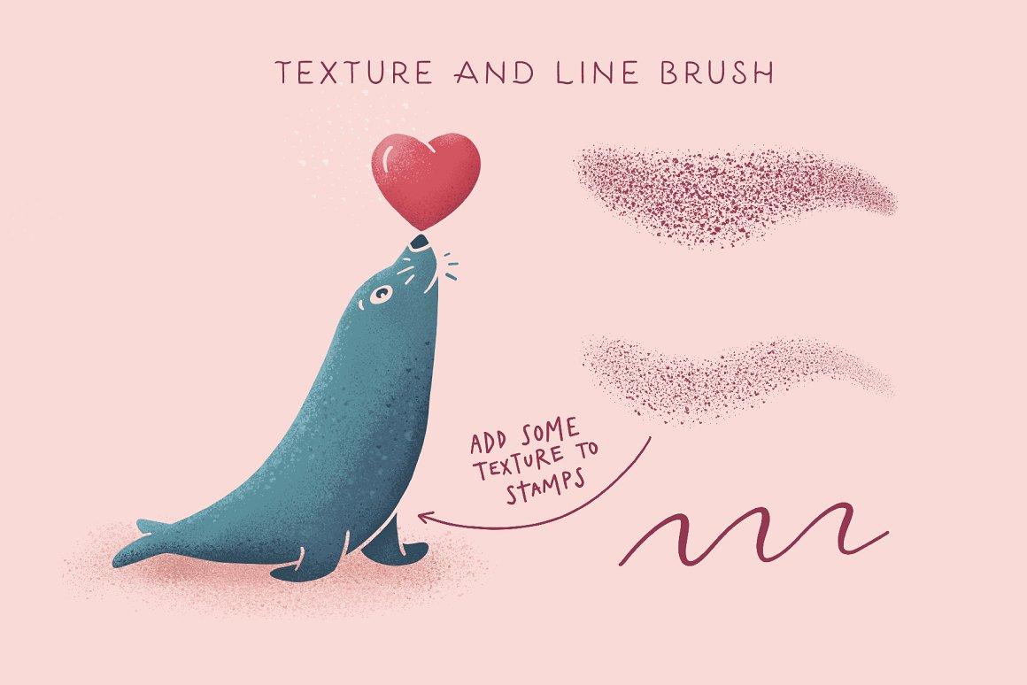 300个点状颗粒花卉动物心形艺术绘画iPad Procreate笔刷字体套装 Procreate Brushes & Font Bundle插图32