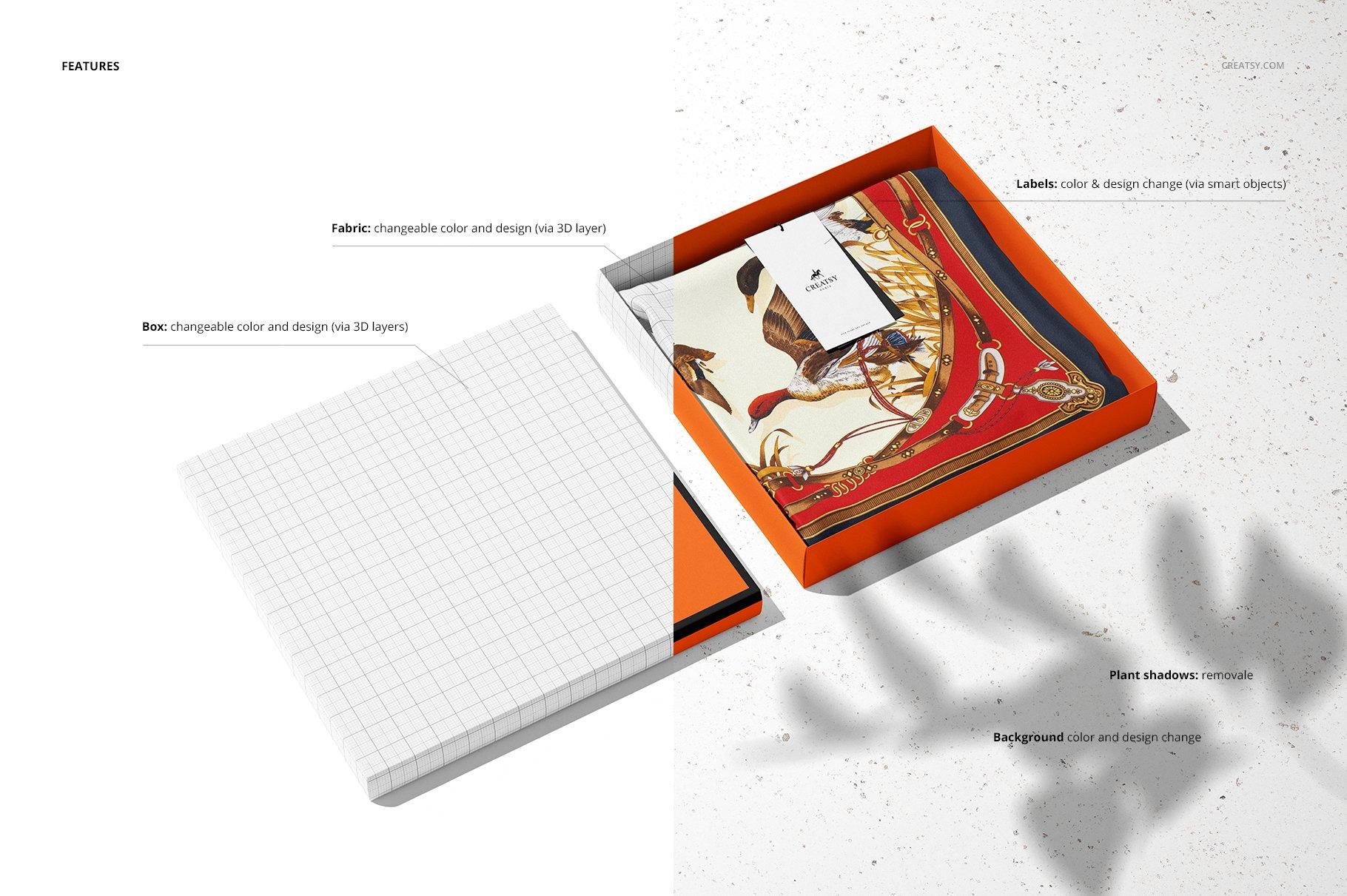 时尚真丝丝绸围巾印花图案设计展示样机 Silk Scarf Box Mockup Set 07/FFv.12插图3