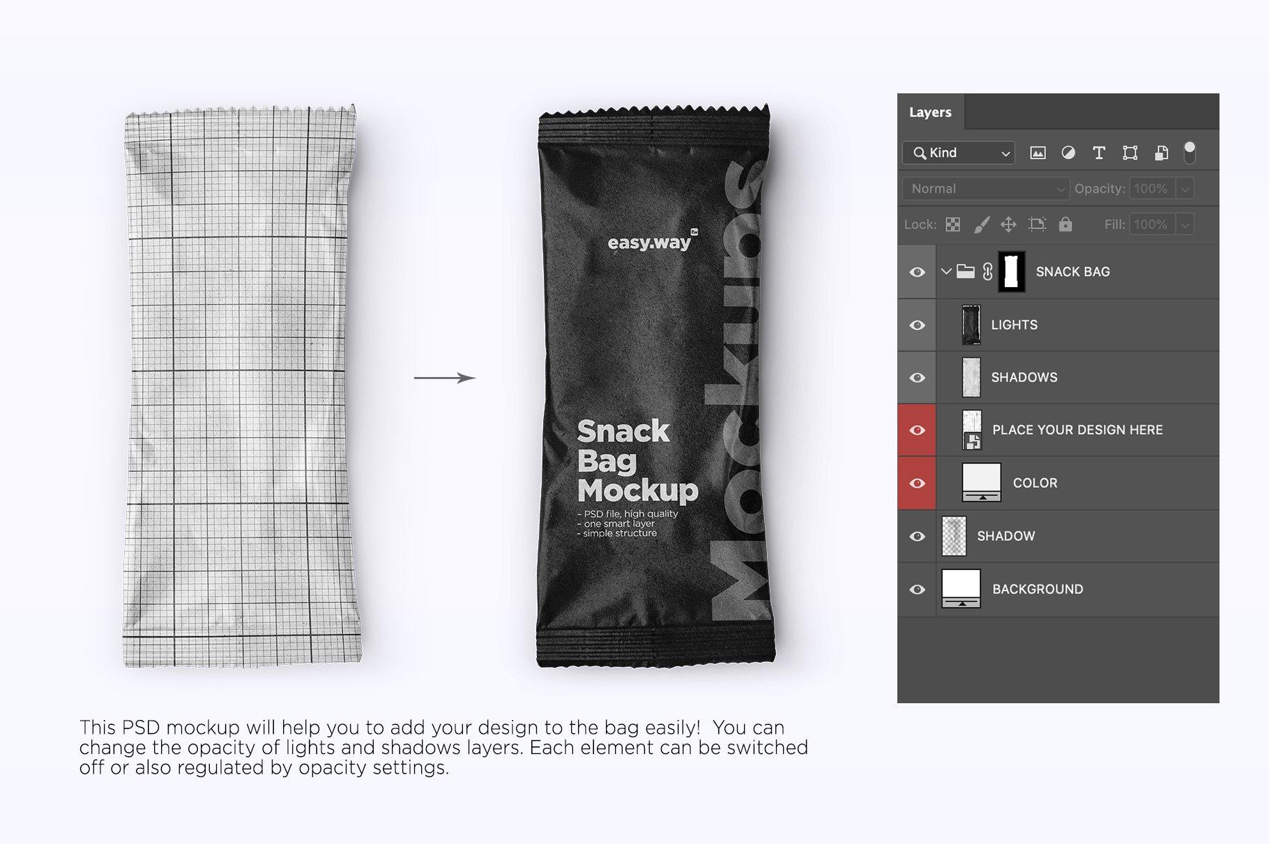 时尚食品糖果牛皮纸包装袋设计PSD样机 Kraft Paper Snack Bag PSD Mockup插图3