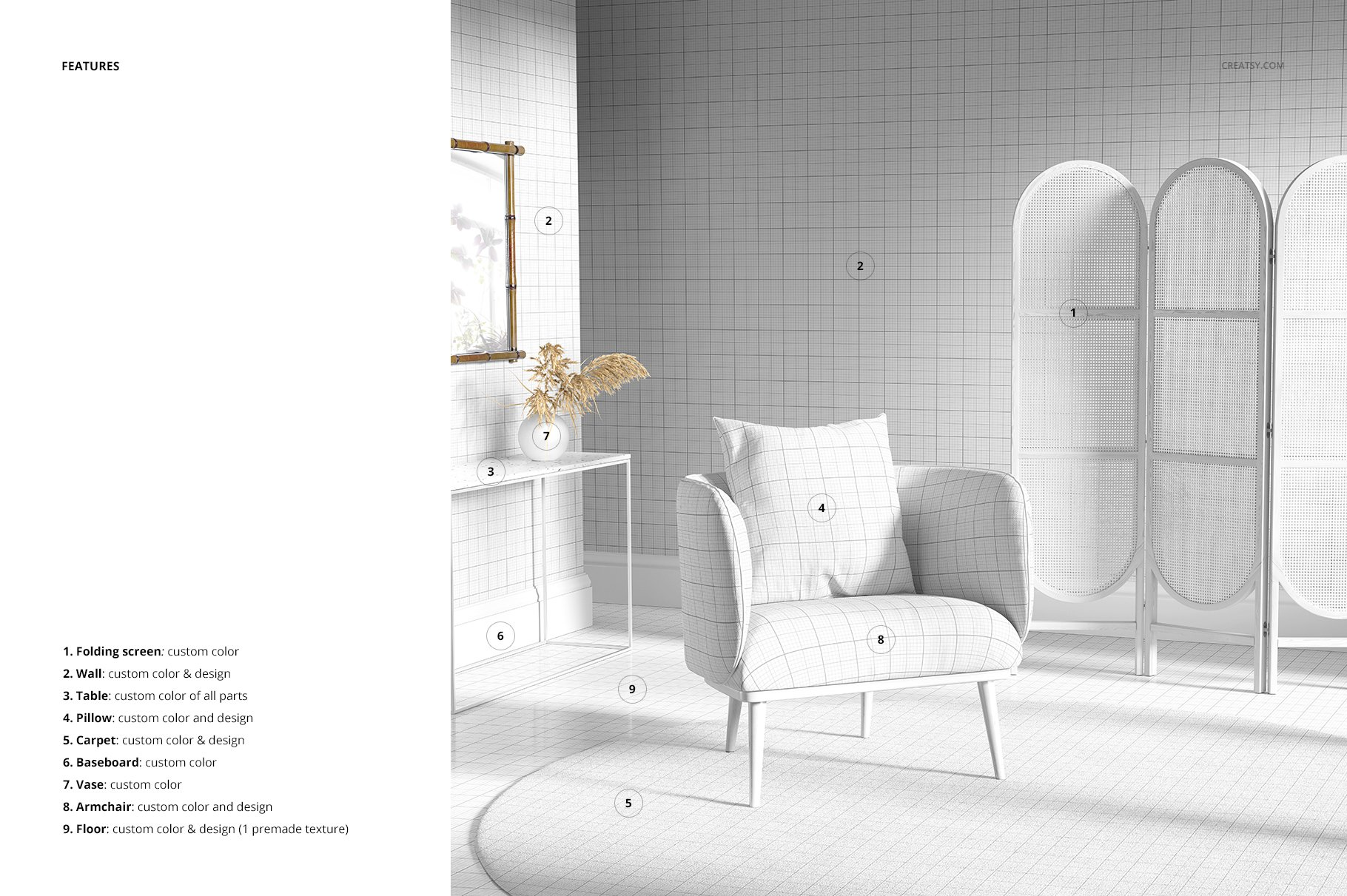 室内场景扶手椅子面料印花图案设计展示PS样机模板素材 Interior Scene Mockup (25FFv.10)插图3