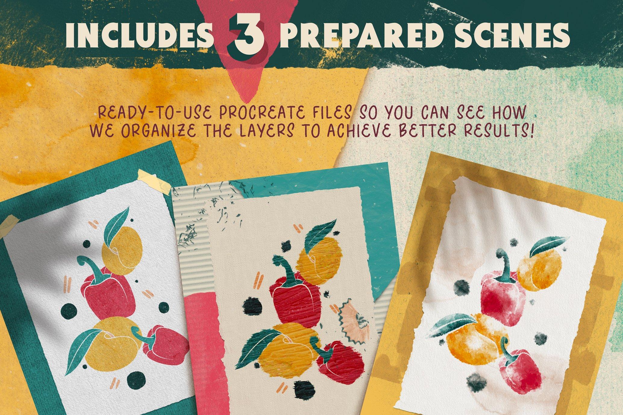 复古做旧颗粒撕纸纸张纹理iPad Procreate笔刷素材套装 The Ultimate Procreate Background Set插图4