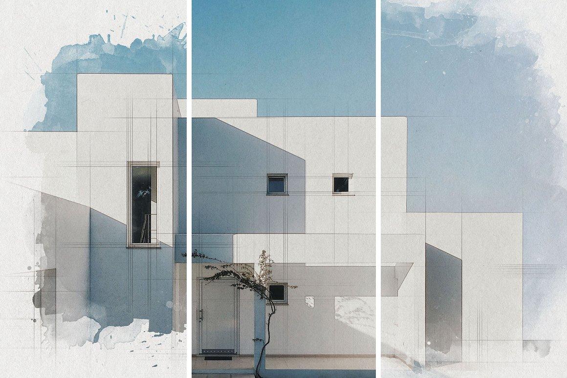 时尚建筑照片水彩混合效果PS样式模板素材 Architect Watercolor Photo Effect插图3
