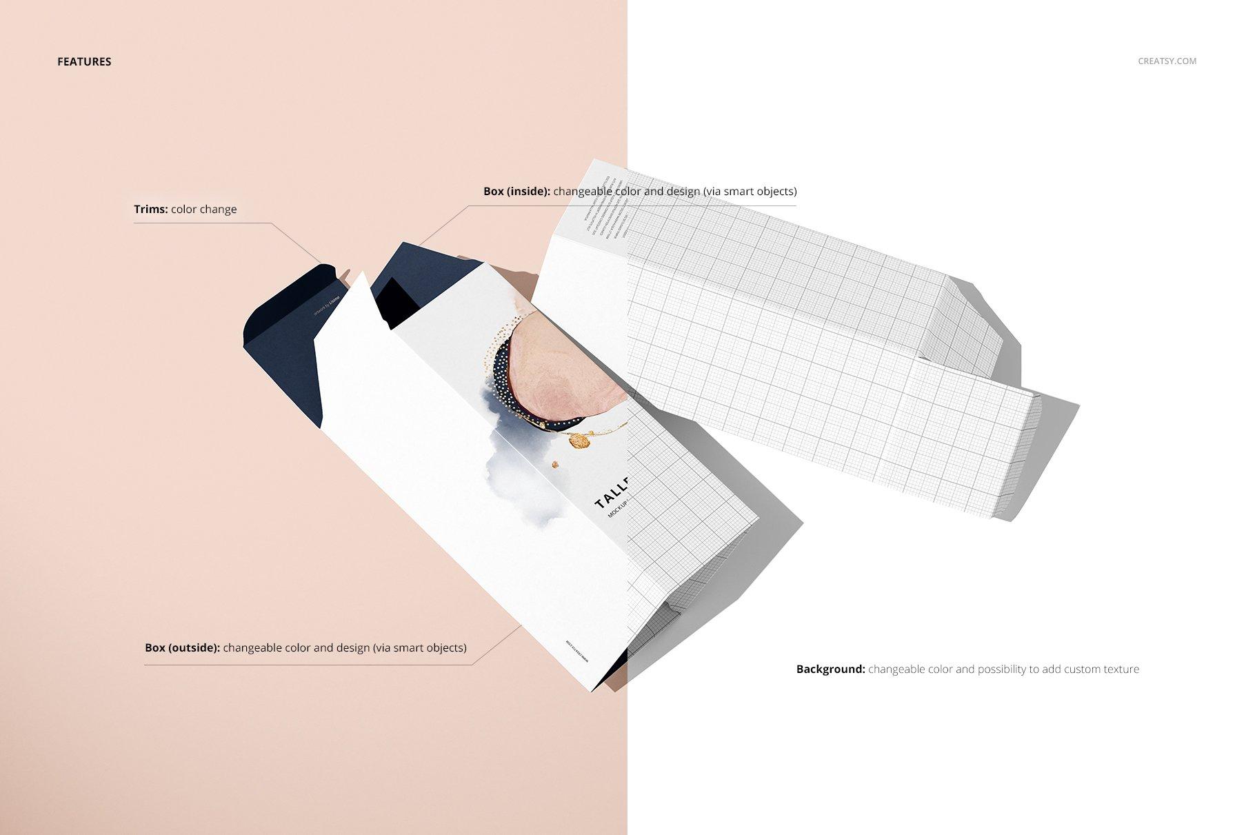 极简方形产品包装纸盒设计PS智能贴图样机合集 Tall Box Mockup Set插图3