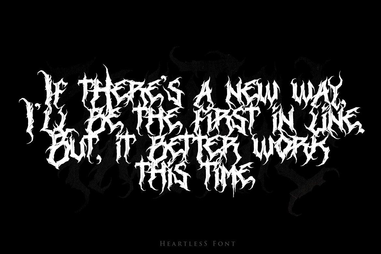 [已解锁精品素材] 潮流逆反差酸性锋利毛刺标题徽标Logo设计装饰英文字体素材 Heartless-Great Deathmetal Font插图3