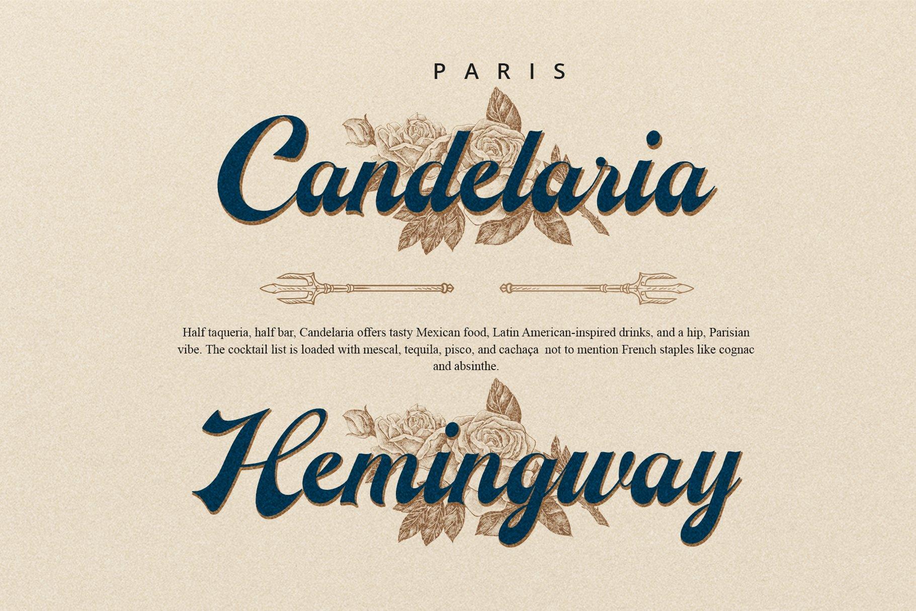 时尚复古海报标题徽标Logo手写英文字体设计素材 The Herera插图3