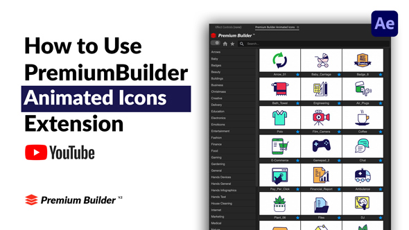 1000组线条ICON图标扁平化MG动画AE视频模板素材 PremiumBuilder Animated Icons插图3