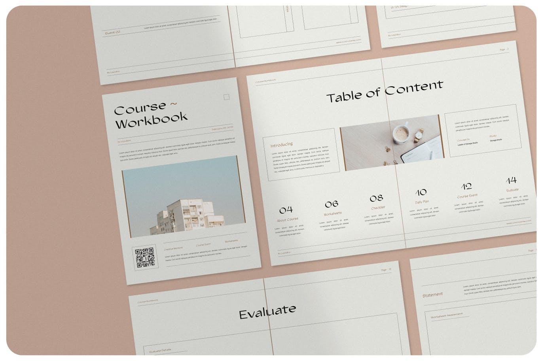 16页课程工作簿手册设计INDD模板素材 The Course Workbook  Minimal插图3
