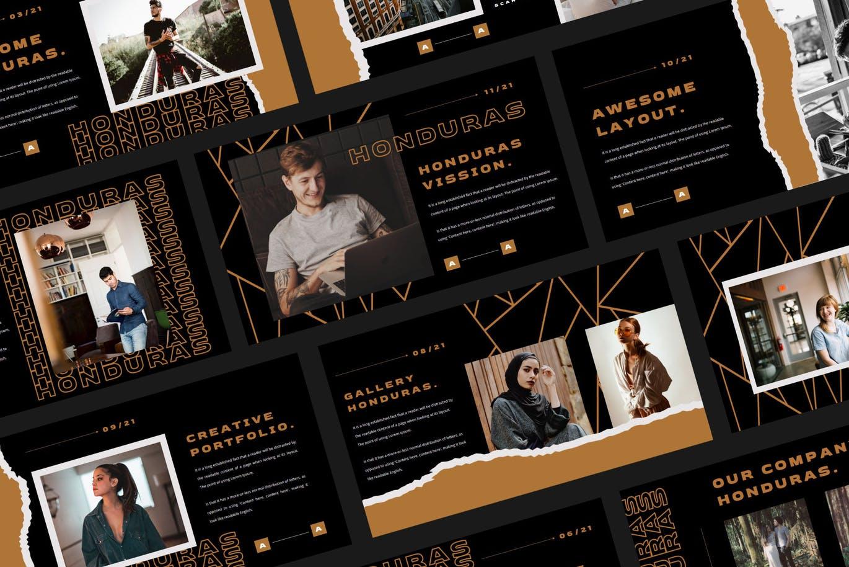 潮流撕纸效果品牌营销设计提案简报演示文稿模板素材 HONDURAS Bundle Presentation Template插图3