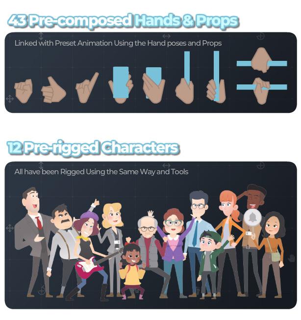 [单独购买] 潮流自定义卡通二维MG人物角色骨骼绑定Duik映射动作动画AE视频模板素材 Character Rigging Mock Up Animations插图4