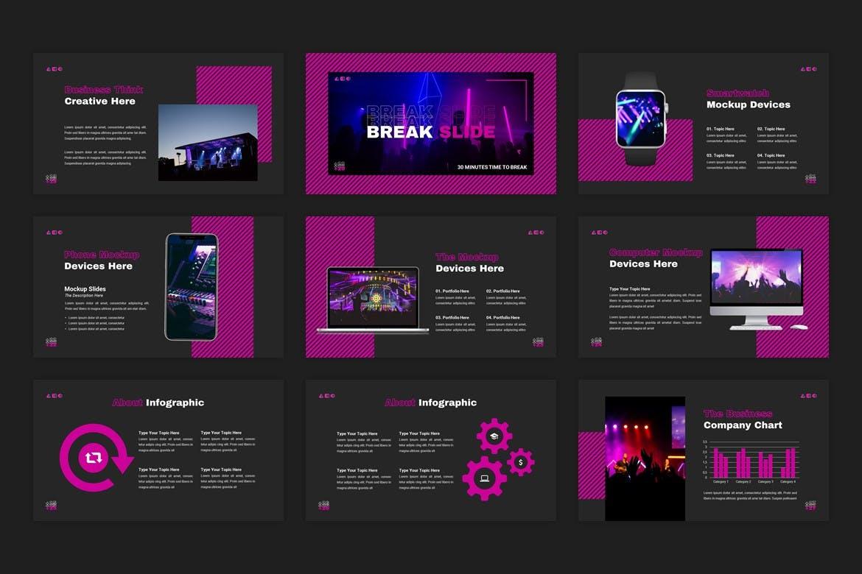 创意霓虹灯效果商业策划演示文稿设计Keynote模板 Experta – Creative Business Keynote Template插图3