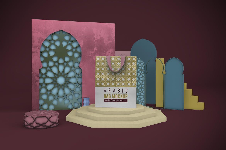 阿拉伯风格购物手提纸袋设计展示样机 Arabic Bag V.1 Mockup插图3