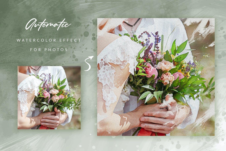 优雅水彩效果婚礼照片新媒体电商海报模板 Watercolor Instagram Carousel插图3