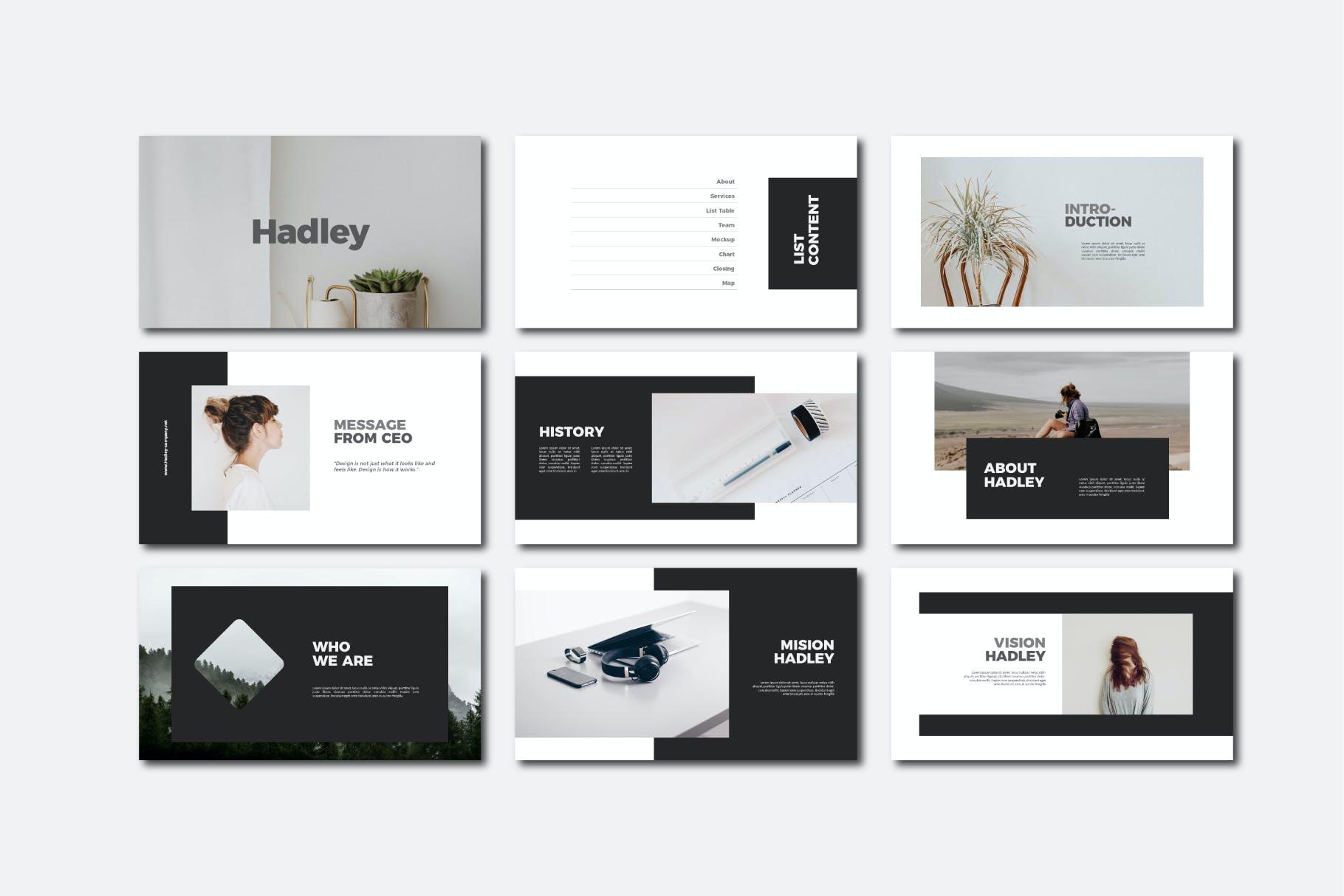 现代商务策划提报演示文稿设计素材模版 Hadley Bundle Presentation插图3