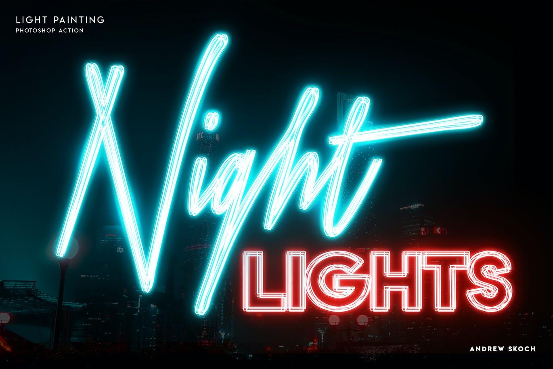 多彩霓虹灯发光效果标题Logo设计PS动作模板素材 Light Painting – Photoshop Action插图3