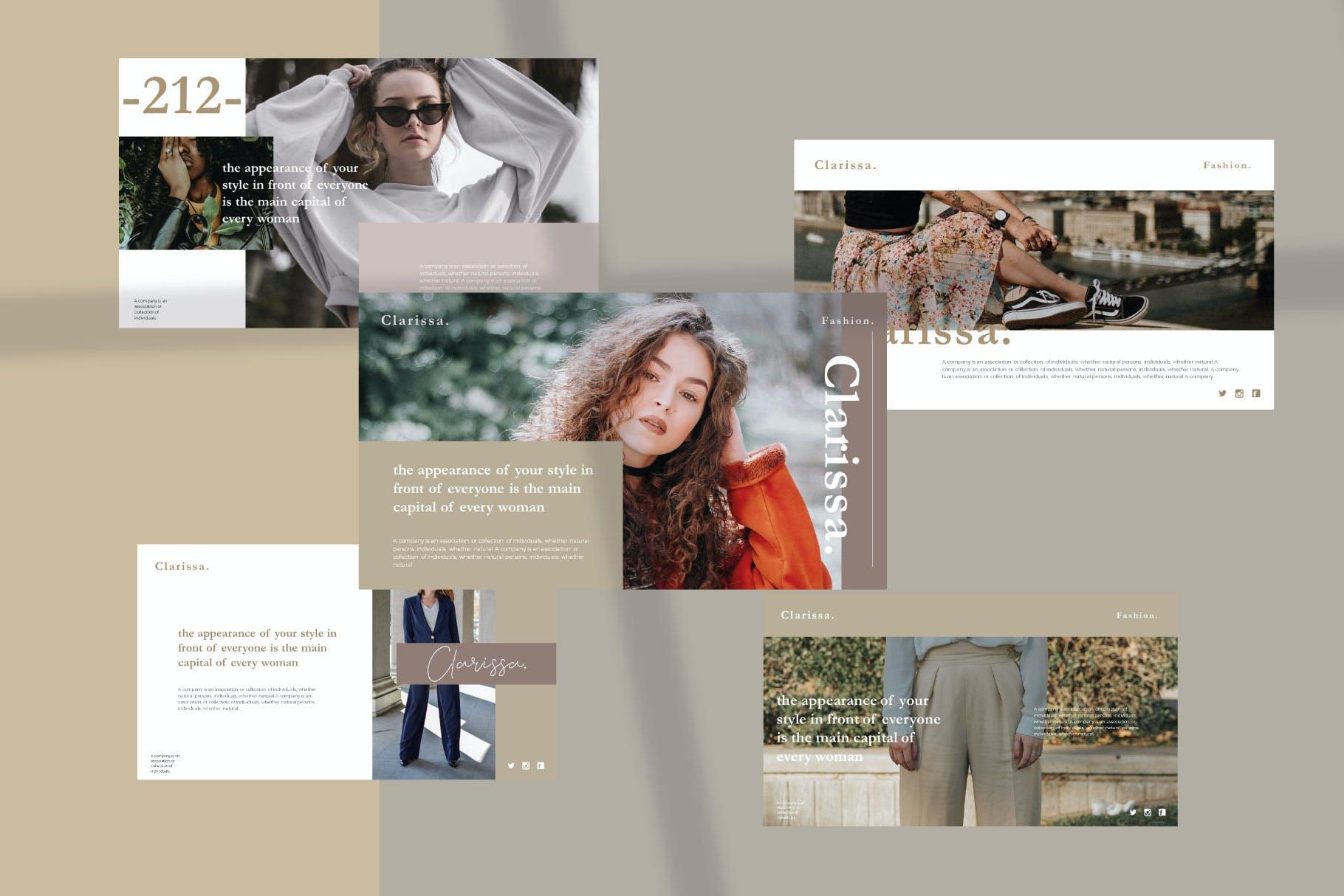 时尚简约摄影作品集图文排版幻灯片设计模板 Clarissa Bundle Presentation插图3