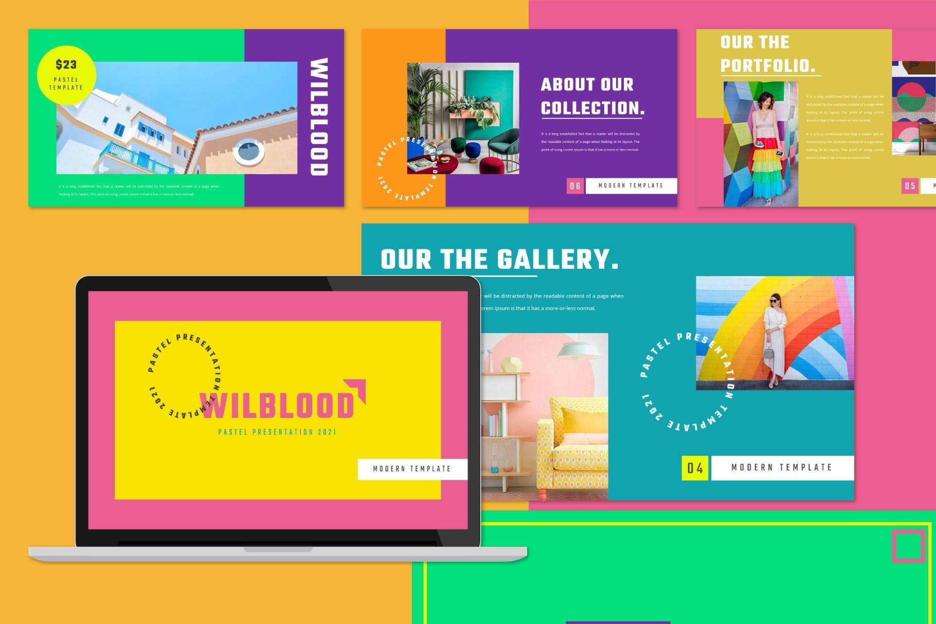 时尚炫彩服装策划提案简报作品集设计模版 WILBLOOD – Keynote Template插图3