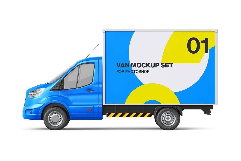 封闭式小货车车厢广告设计贴图样机 Cube Van Mockup 02插图3