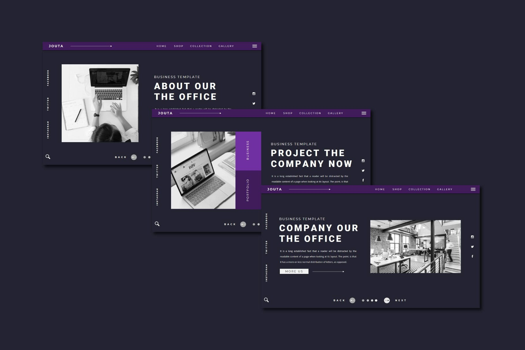 酷黑企业策划宣传演示文稿PPT设计模板 JOUTA Powerpoint Template插图3