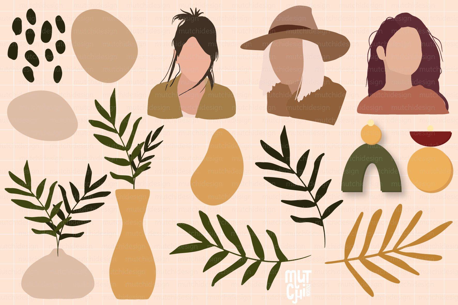26个女性肖像树叶手绘剪贴画矢量图设计素材 Boho SVG, EPS, PNG Graphics插图3