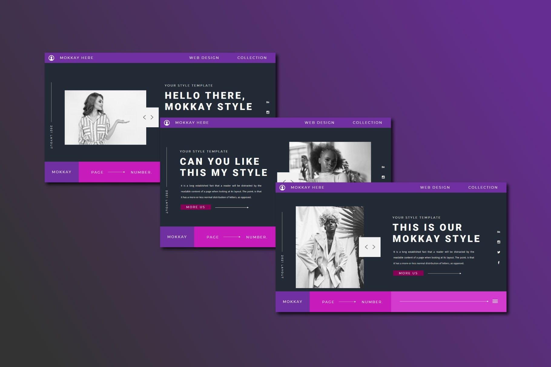 潮流服装摄影作品集图文排版 Keynote设计模板 MOKKAY Keynote Template插图3