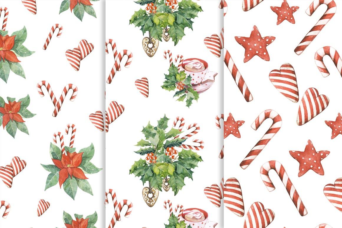 19个圣诞节主题松枝鹿角手绘剪贴画JPG图片素材 Watercolor Christmas Magic Patterns插图3