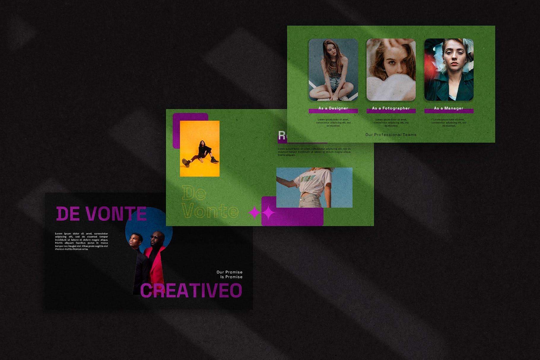 潮流炫酷摄影作品集图文排版设计Keynote 模版 De Vonte Keynote Template插图3