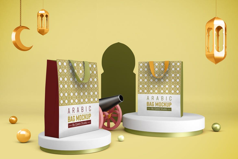 阿拉伯风斋月购物手提袋设计PSD样机模板 Ramadan Bag插图5