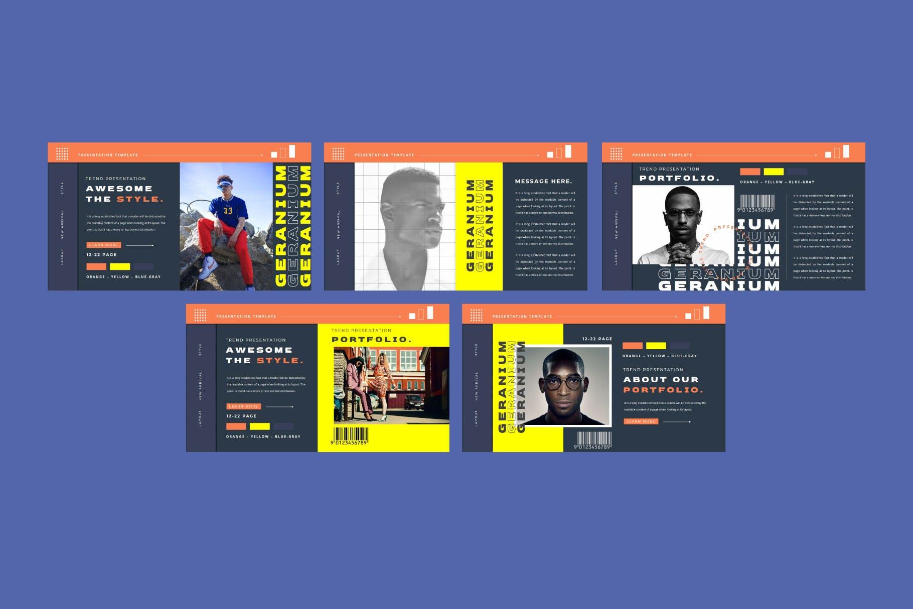 潮流品牌营销提案简报作品集设计模板 GERANIUM Powerpoint Template插图3