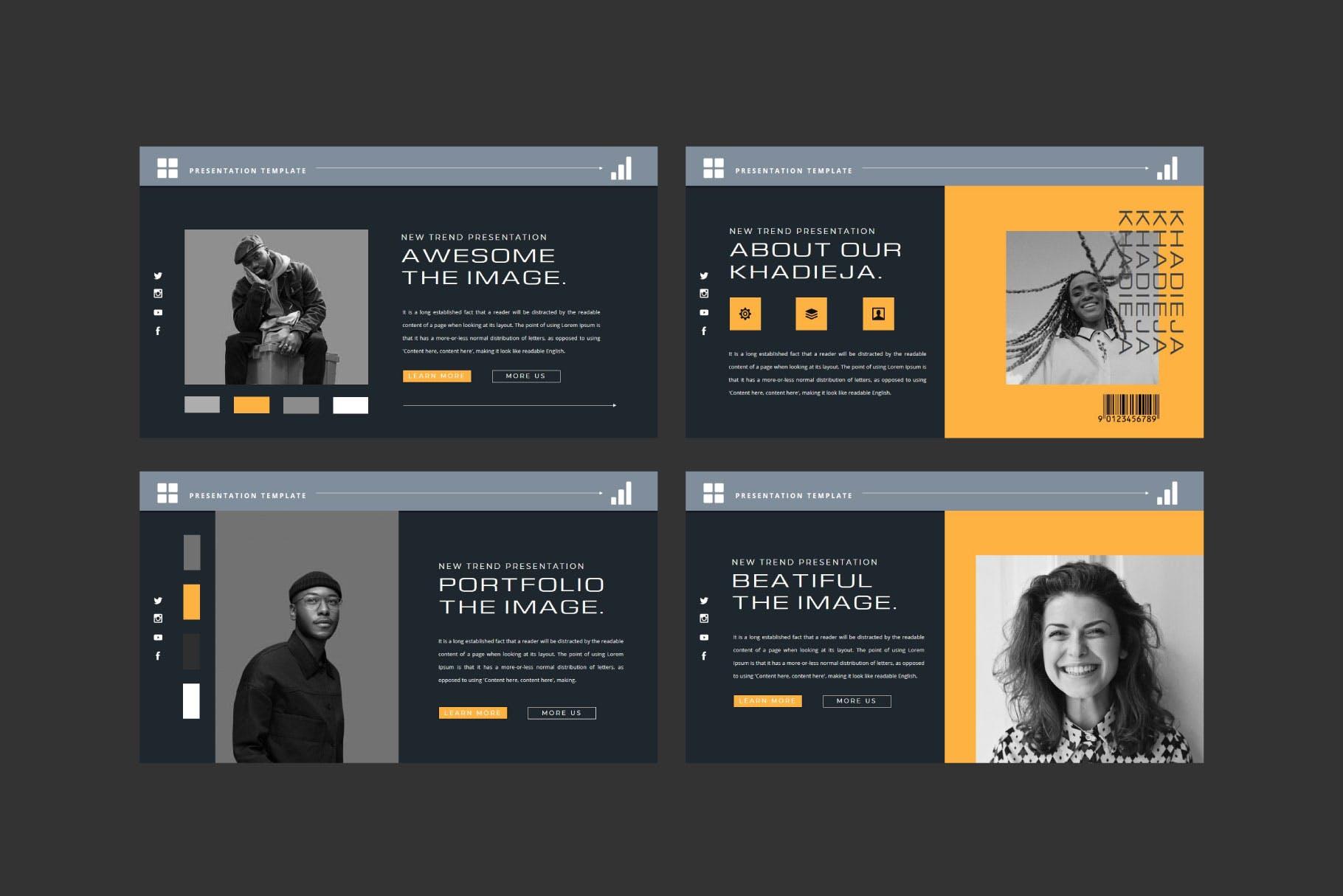 潮流品牌策划提案简报作品集设计演示文稿模板 KHADIEJA Powerpoint Template插图3