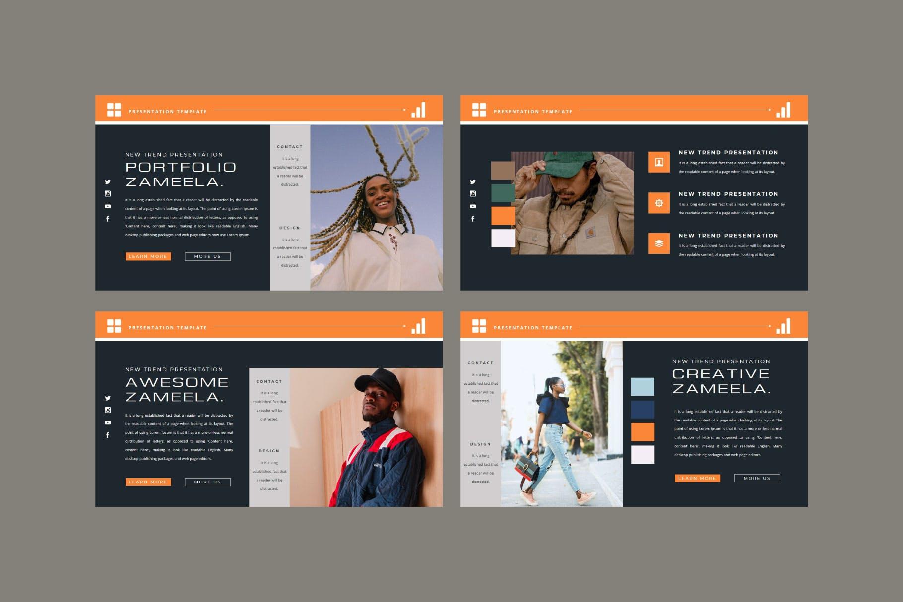 潮流品牌服装摄影作品集演示文稿设计模板 ZAMEELA Powerpoint Template插图3