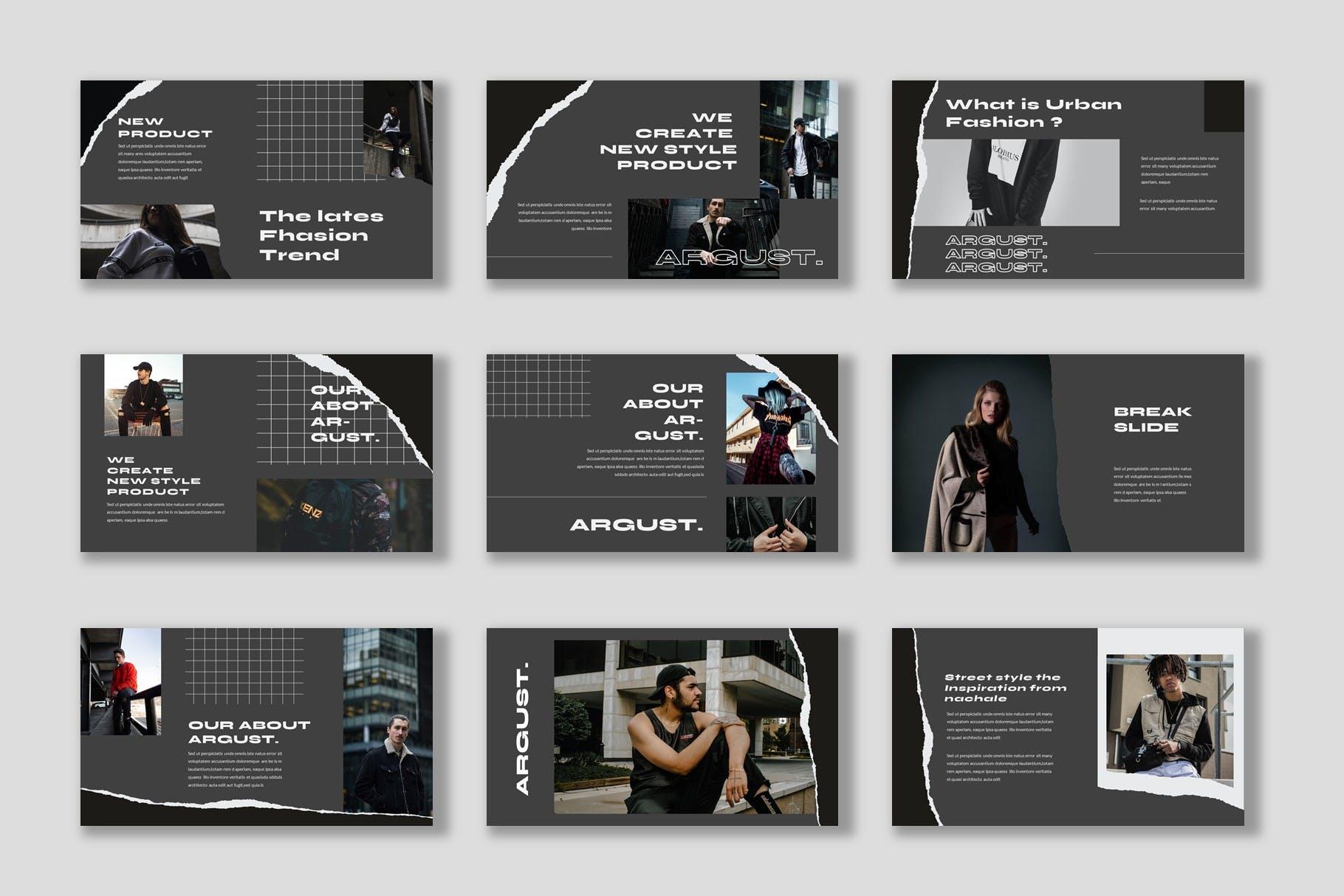 潮流撕纸效果品牌策划提案简报演示文稿设计模板 Argust Powerpoint Template插图3
