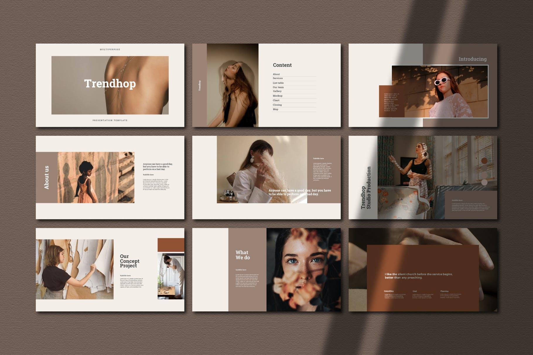 时尚奢华女性服装摄影作品集演示文稿模版 Trendhop Powerpoint Template插图3