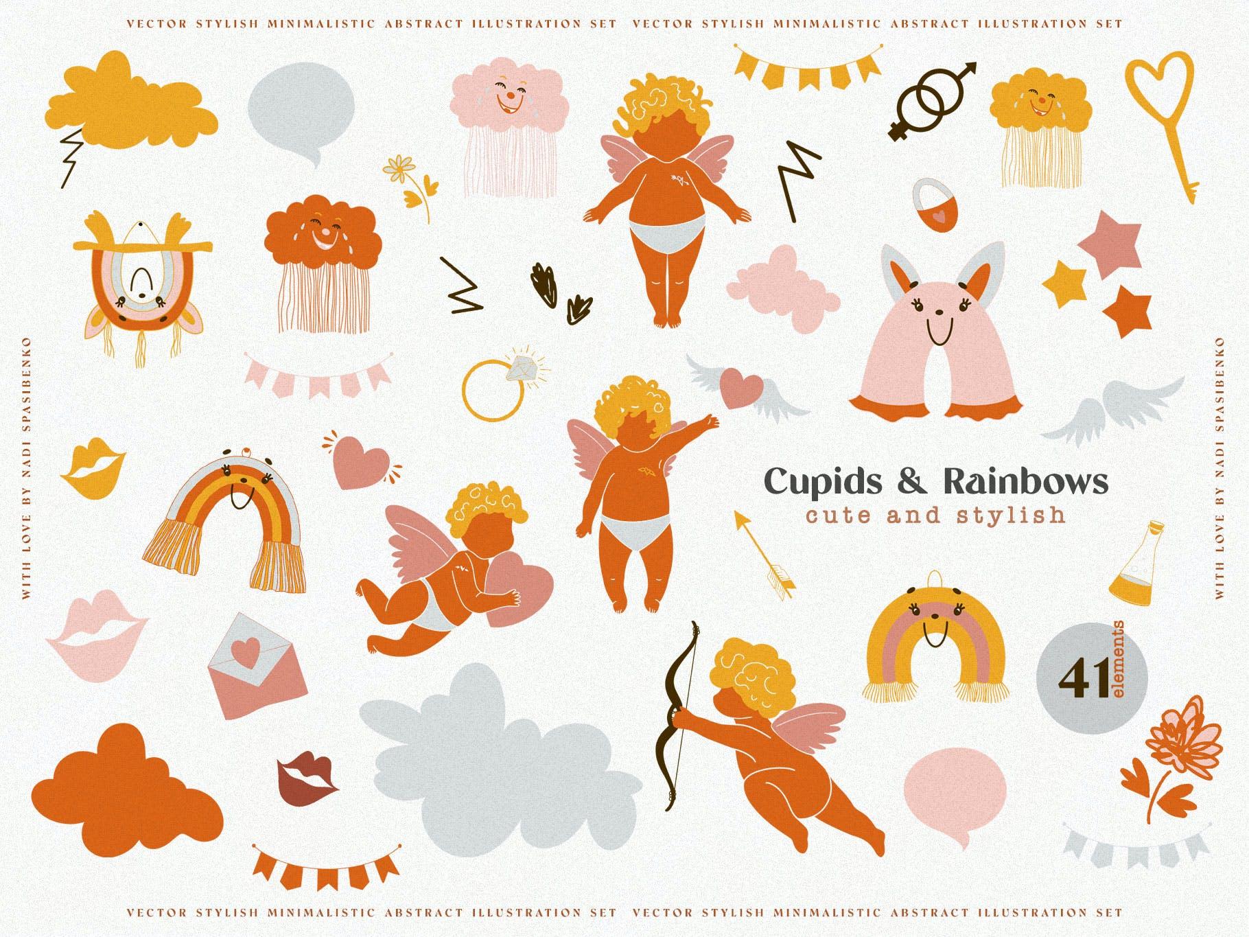时尚抽象可爱卡通彩虹丘比特元素手绘插画矢量设计素材 Cupids & Cute Rainbows插图3