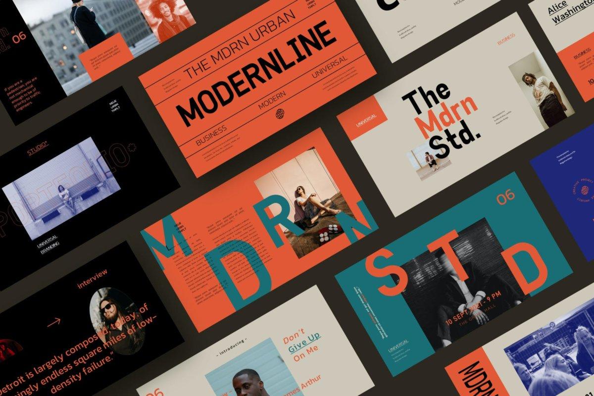 时尚潮流服装摄影作品集演示文稿设计PPT模板 Modern Line Powerpoint Template插图3