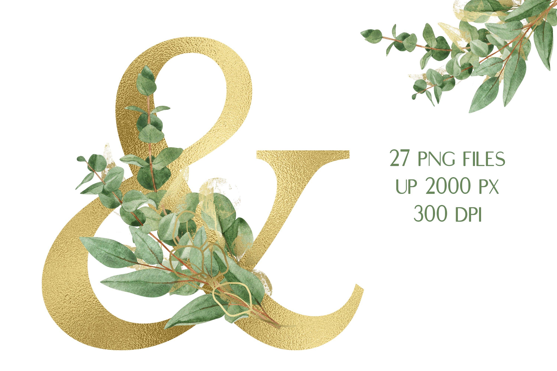 华丽金色字母树叶花卉装饰图案手绘剪贴画PNG透明图片素材 Sublimation Alphabet Gold Letters插图3