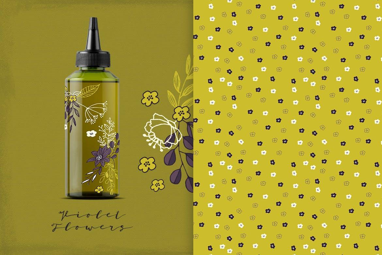 优美紫罗兰手绘插画矢量设计素材 Violet Flowers插图3