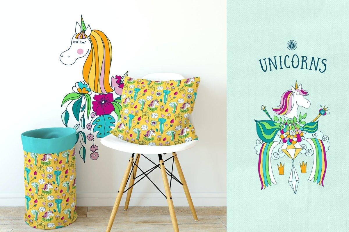 可爱卡通独角兽手绘插画矢量设计素材 Unicorns Illustrations插图3