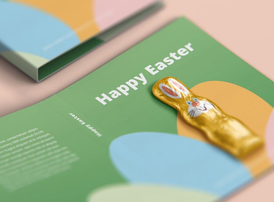 时尚带巧克力文件夹卡片设计样机素材 Easter Folder Card Mockup插图3