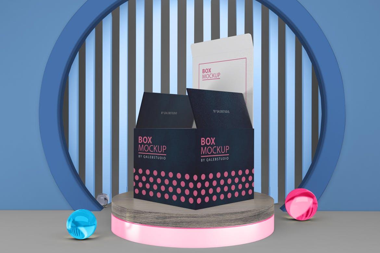 多角度方形产品包装纸盒设计PSD样机m'b Box Mockup V.5插图1