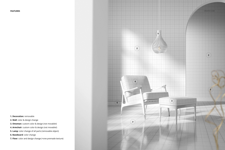 奥斯曼风休闲扶手椅子面料印花图案设计PS智能贴图样机合集 Lounge Chair & Ottoman Mockup Set插图3